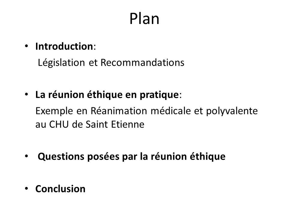 Plan Introduction: Législation et Recommandations La réunion éthique en pratique: Exemple en Réanimation médicale et polyvalente au CHU de Saint Etien