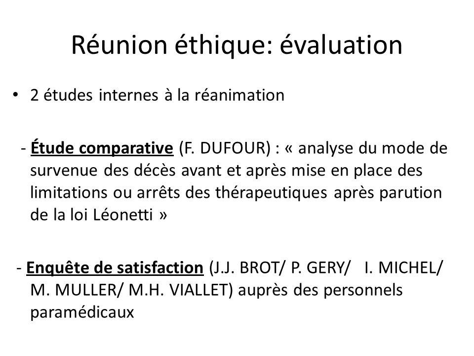 Réunion éthique: évaluation 2 études internes à la réanimation - Étude comparative (F. DUFOUR) : « analyse du mode de survenue des décès avant et aprè