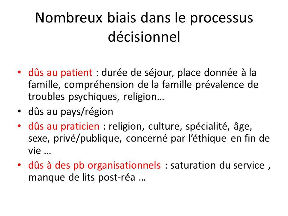 Nombreux biais dans le processus décisionnel dûs au patient : durée de séjour, place donnée à la famille, compréhension de la famille prévalence de tr
