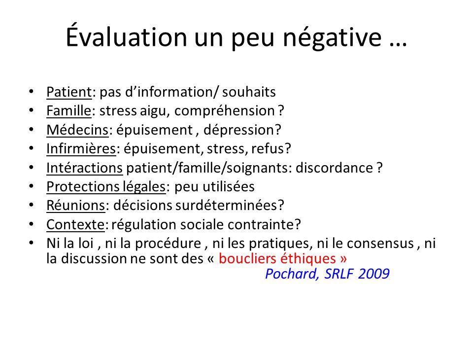 Évaluation un peu négative … Patient: pas dinformation/ souhaits Famille: stress aigu, compréhension ? Médecins: épuisement, dépression? Infirmières: