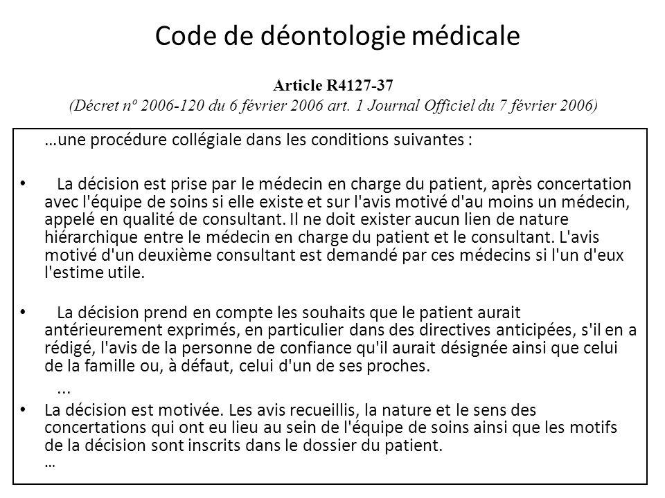 Article R4127-37 (Décret nº 2006-120 du 6 février 2006 art. 1 Journal Officiel du 7 février 2006) …une procédure collégiale dans les conditions suivan