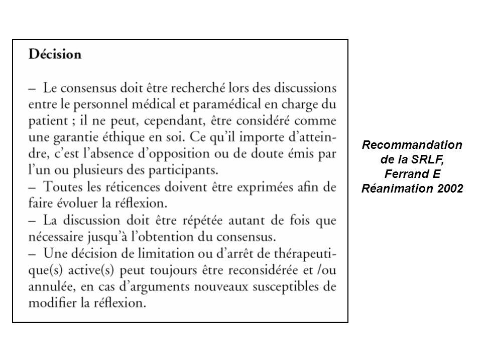 Réunion éthique: le support 2°) ARRET DE THERAPEUTIQUES ACTIVES oui non - arrêt dune épuration extrarénale si présente : oui non NA - arrêt des drogues vasoactives si présentes : oui non NA - diminution de la FiO2 et / ou de la PEP : oui non NA - diminution de la VM ou du niveau dAI : oui non NA -extubation (avec accord de la famille) : oui non NA - arrêt de toute antibiothérapie : oui non NA -arrêt de toute alimentation (entérale et parentérale) hors hydratation: oui non NA - arrêt de la prophylaxie antithrombotique et antiulcéreuse : oui non NA - arrêt de tout traitement éventuel de fond : oui non NA -arrêt de tout examen paraclinique (prélèvements sanguins et radiologiques) : oui non NA - arrêt de toute kinésithérapie respiratoire pour désencombrement: oui non NA