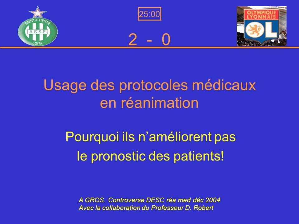 Usage des protocoles médicaux en réanimation Pourquoi ils naméliorent pas le pronostic des patients.