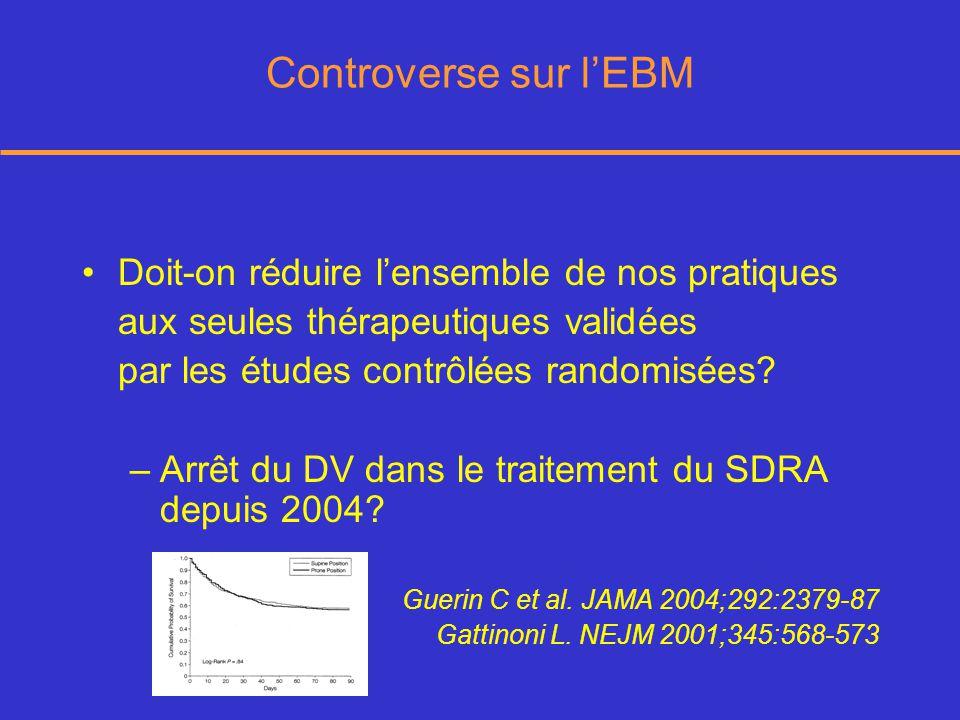 Controverse sur lEBM Doit-on réduire lensemble de nos pratiques aux seules thérapeutiques validées par les études contrôlées randomisées.