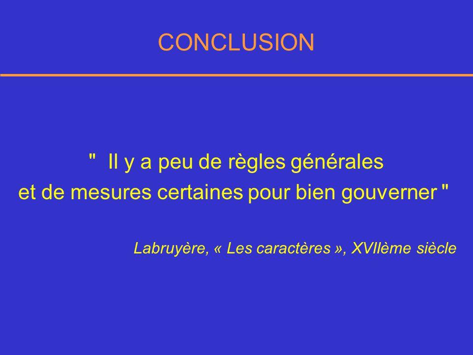 CONCLUSION Il y a peu de règles générales et de mesures certaines pour bien gouverner Labruyère, « Les caractères », XVIIème siècle