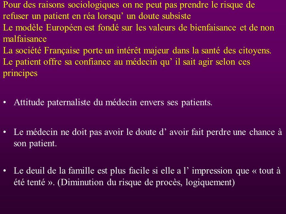 Pour des raisons sociologiques on ne peut pas prendre le risque de refuser un patient en réa lorsqu un doute subsiste Le modèle Européen est fondé sur