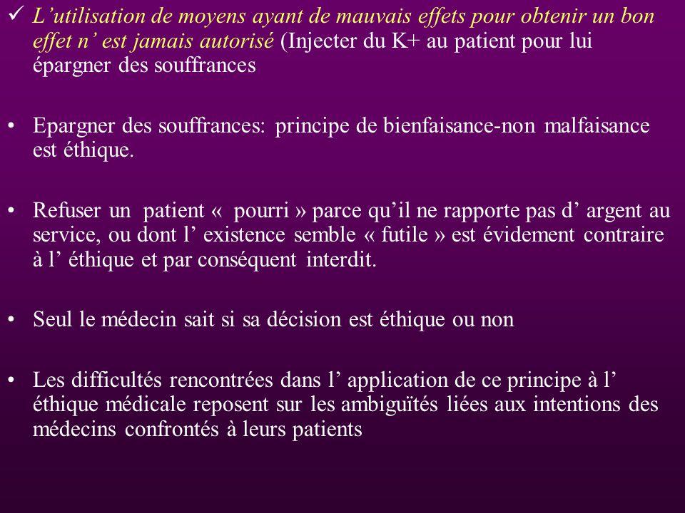 Lutilisation de moyens ayant de mauvais effets pour obtenir un bon effet n est jamais autorisé (Injecter du K+ au patient pour lui épargner des souffr