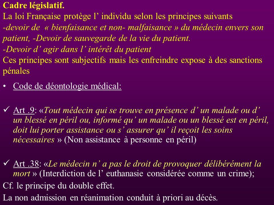 Cadre législatif. La loi Française protège l individu selon les principes suivants -devoir de « bienfaisance et non- malfaisance » du médecin envers s