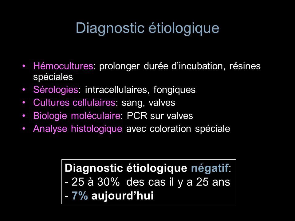 Diagnostic étiologique Hémocultures: prolonger durée dincubation, résines spéciales Sérologies: intracellulaires, fongiques Cultures cellulaires: sang
