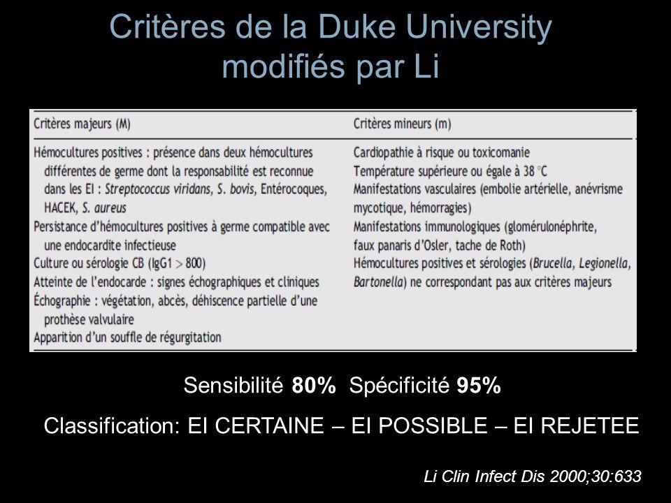 Critères de la Duke University modifiés par Li Sensibilité 80% Spécificité 95% Classification: EI CERTAINE – EI POSSIBLE – EI REJETEE Li Clin Infect D