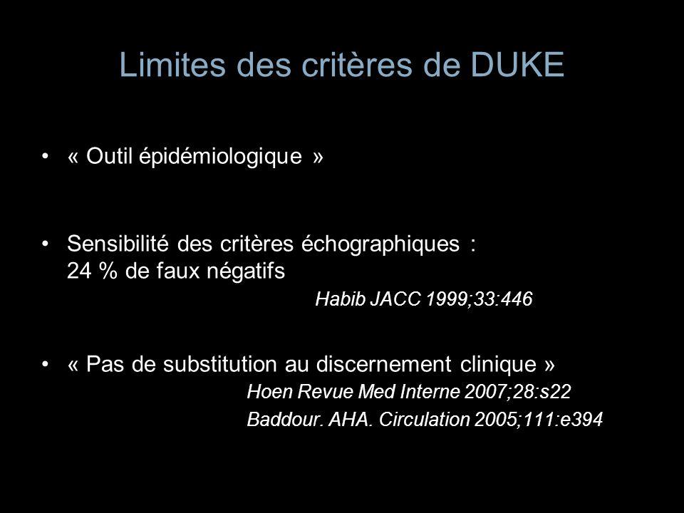Limites des critères de DUKE « Outil épidémiologique » Sensibilité des critères échographiques : 24 % de faux négatifs Habib JACC 1999;33:446 « Pas de
