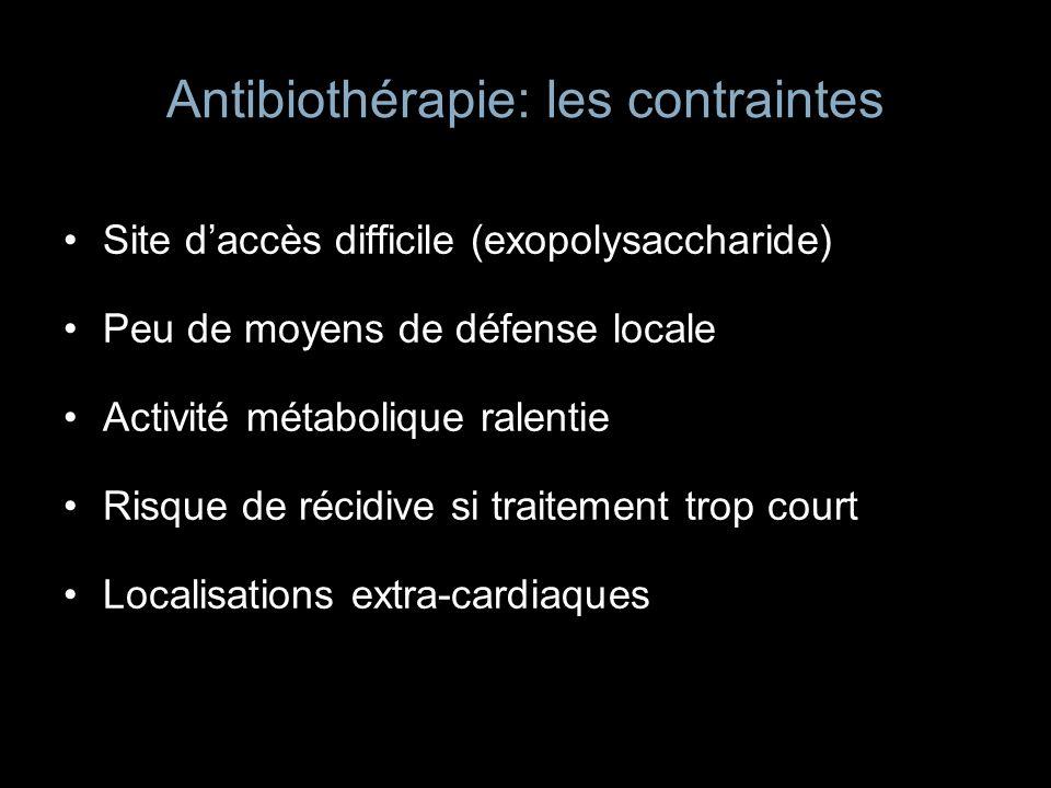 Antibiothérapie: les contraintes Site daccès difficile (exopolysaccharide) Peu de moyens de défense locale Activité métabolique ralentie Risque de réc