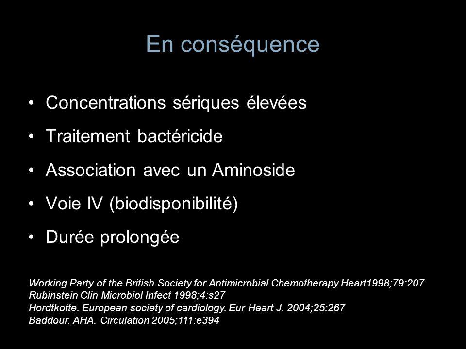 En conséquence Concentrations sériques élevées Traitement bactéricide Association avec un Aminoside Voie IV (biodisponibilité) Durée prolongée Working