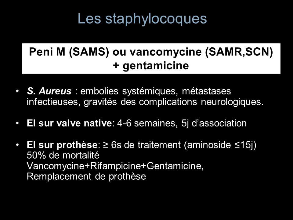 Les staphylocoques S. Aureus : embolies systémiques, métastases infectieuses, gravités des complications neurologiques. EI sur valve native: 4-6 semai