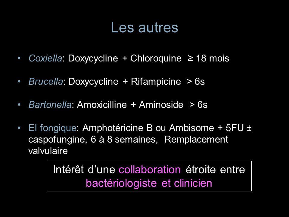 Les autres Coxiella: Doxycycline + Chloroquine 18 mois Brucella: Doxycycline + Rifampicine > 6s Bartonella: Amoxicilline + Aminoside > 6s EI fongique: