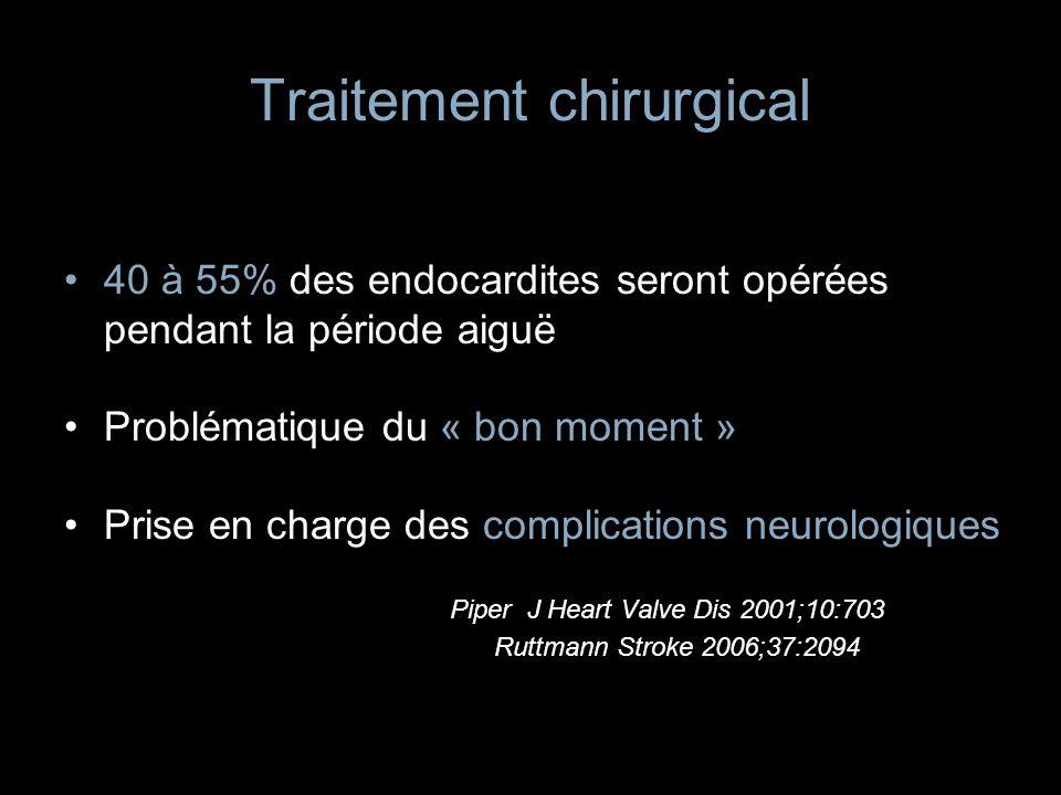 Traitement chirurgical 40 à 55% des endocardites seront opérées pendant la période aiguë Problématique du « bon moment » Prise en charge des complicat