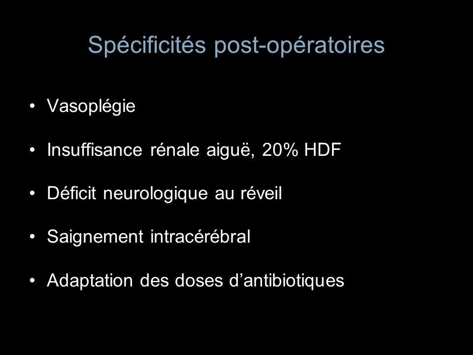 Spécificités post-opératoires Vasoplégie Insuffisance rénale aiguë, 20% HDF Déficit neurologique au réveil Saignement intracérébral Adaptation des dos