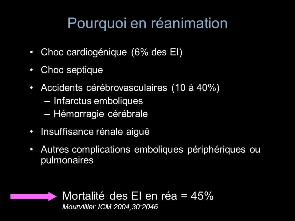 Pourquoi en réanimation Choc cardiogénique (6% des EI) Choc septique Accidents cérébrovasculaires (10 à 40%) –Infarctus emboliques –Hémorragie cérébra