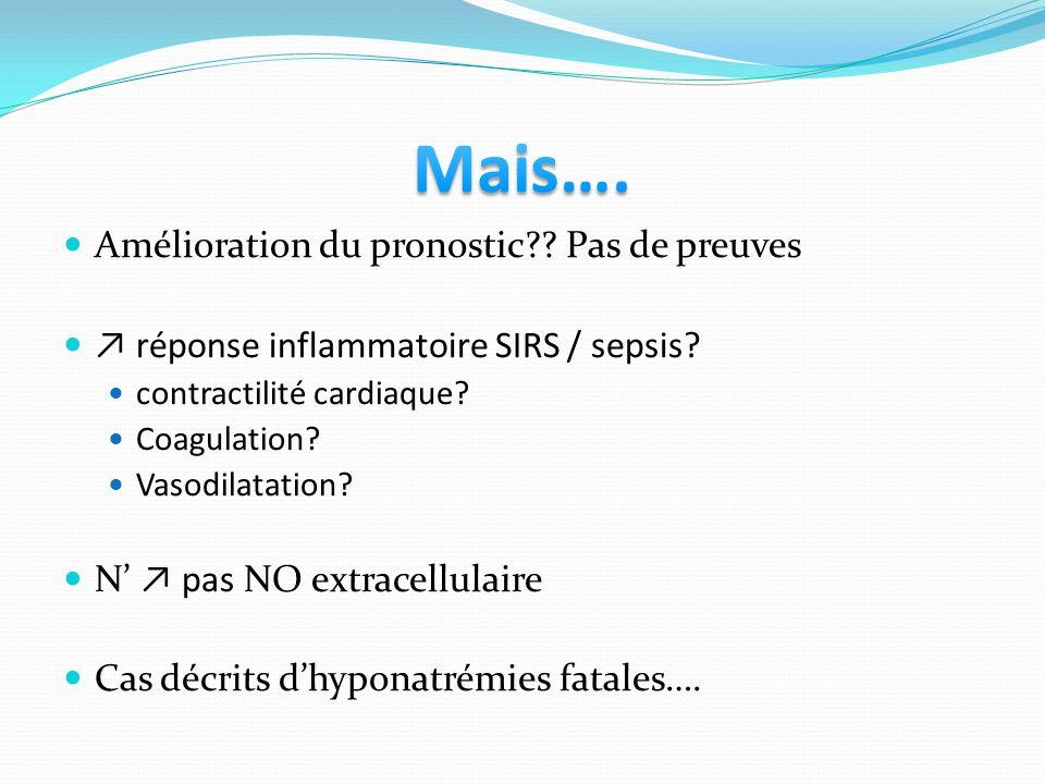 Amélioration du pronostic?? Pas de preuves réponse inflammatoire SIRS / sepsis? contractilité cardiaque? Coagulation? Vasodilatation? N pas NO extrace