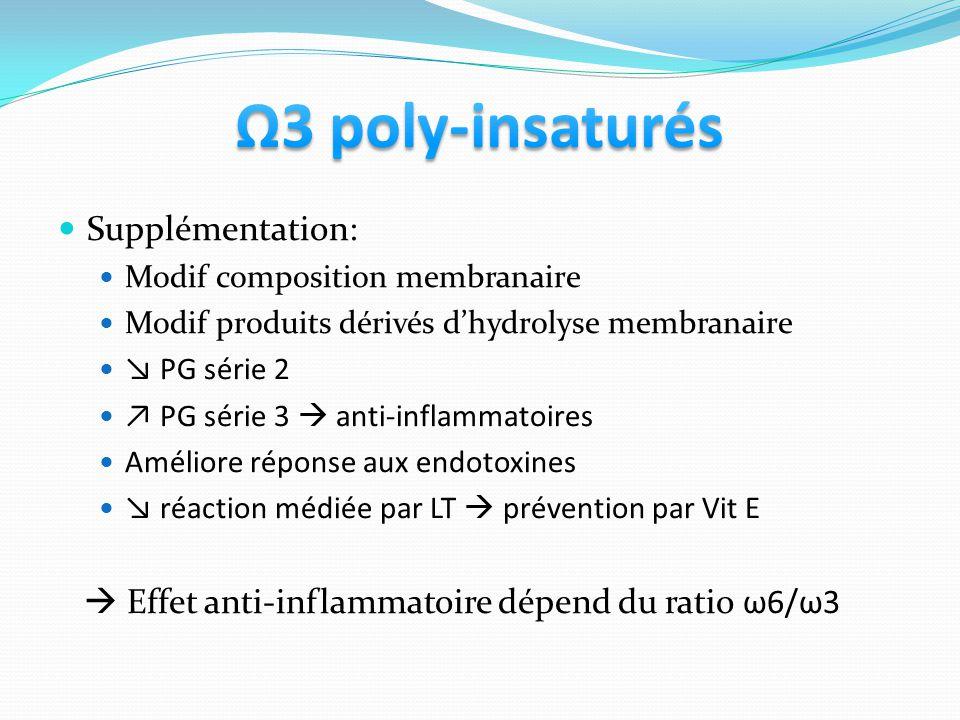 Supplémentation: Modif composition membranaire Modif produits dérivés dhydrolyse membranaire PG série 2 PG série 3 anti-inflammatoires Améliore répons
