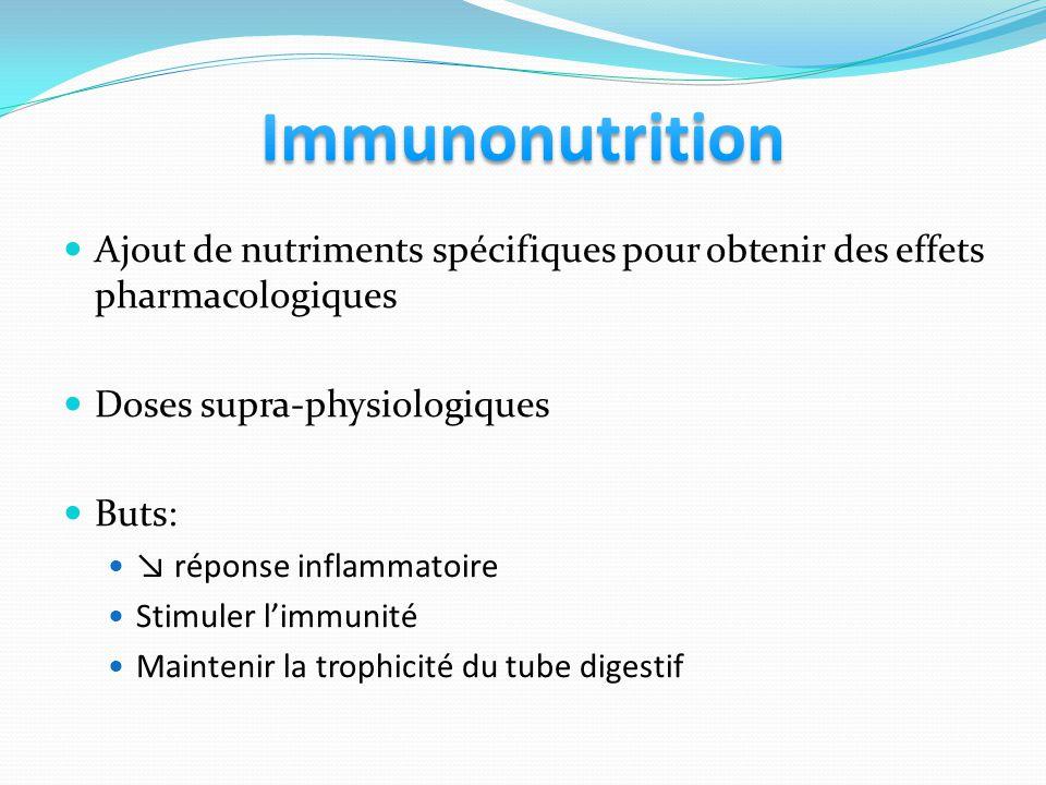 Ajout de nutriments spécifiques pour obtenir des effets pharmacologiques Doses supra-physiologiques Buts: réponse inflammatoire Stimuler limmunité Maintenir la trophicité du tube digestif