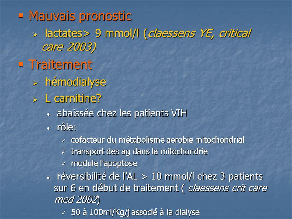 Mauvais pronostic Mauvais pronostic lactates> 9 mmol/l (claessens YE, critical care 2003) lactates> 9 mmol/l (claessens YE, critical care 2003) Traite