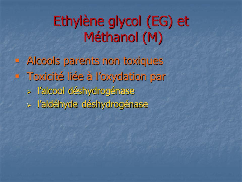 Ethylène glycol (EG) et Méthanol (M) Alcools parents non toxiques Alcools parents non toxiques Toxicité liée à loxydation par Toxicité liée à loxydati
