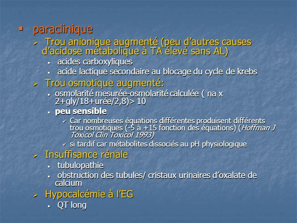 paraclinique paraclinique Trou anionique augmenté (peu dautres causes dacidose métabolique à TA élevé sans AL) Trou anionique augmenté (peu dautres ca