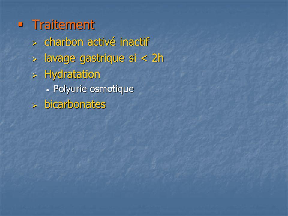 Traitement Traitement charbon activé inactif charbon activé inactif lavage gastrique si < 2h lavage gastrique si < 2h Hydratation Hydratation Polyurie