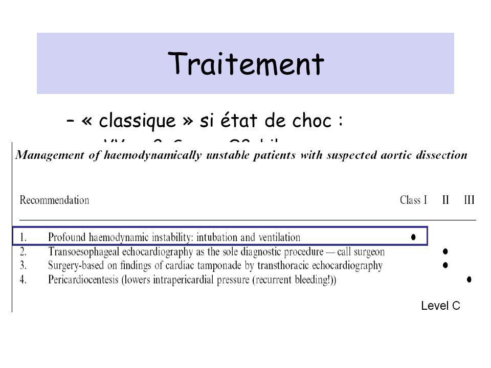 Traitement –« classique » si état de choc : VVp x 2, Scope, O2, bilan sang, IOT-VM, optimisation volémie/remplissage PA : compromis TA modérée et perf