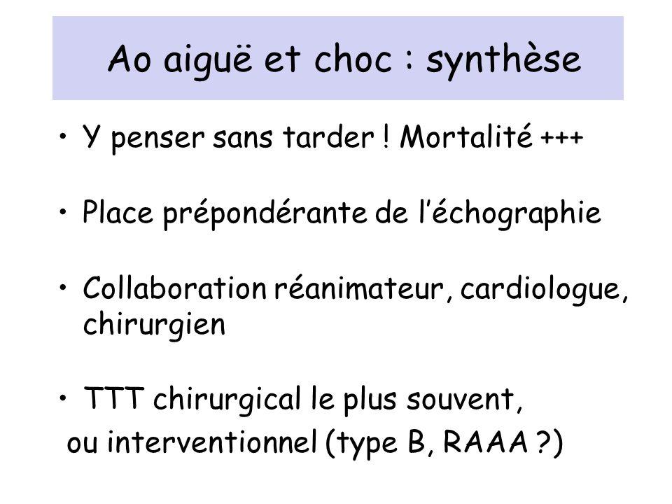 Ao aiguë et choc : synthèse Y penser sans tarder ! Mortalité +++ Place prépondérante de léchographie Collaboration réanimateur, cardiologue, chirurgie