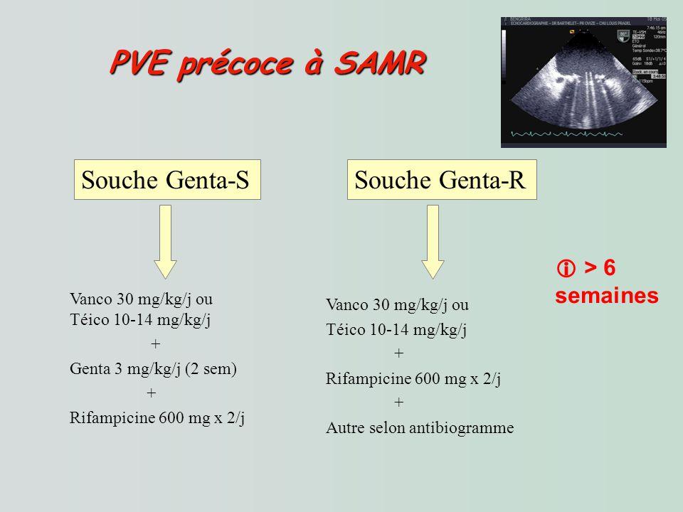 PVE précoce à SAMR PVE précoce à SAMR Souche Genta-SSouche Genta-R Vanco 30 mg/kg/j ou Téico 10-14 mg/kg/j + Genta 3 mg/kg/j (2 sem) + Rifampicine 600 mg x 2/j Vanco 30 mg/kg/j ou Téico 10-14 mg/kg/j + Rifampicine 600 mg x 2/j + Autre selon antibiogramme > 6 semaines