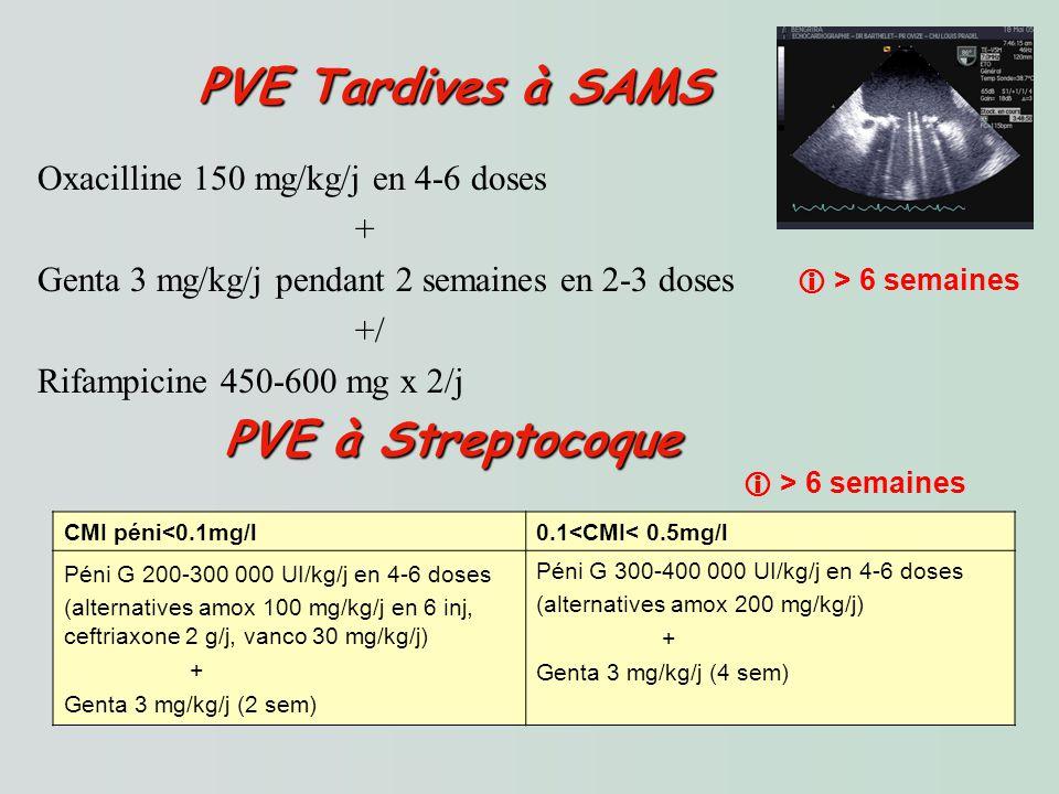 PVE Tardives à SAMS PVE Tardives à SAMS Oxacilline 150 mg/kg/j en 4-6 doses + Genta 3 mg/kg/j pendant 2 semaines en 2-3 doses +/ Rifampicine 450-600 mg x 2/j PVE à Streptocoque PVE à Streptocoque CMI péni<0.1mg/l0.1<CMI< 0.5mg/l Péni G 200-300 000 UI/kg/j en 4-6 doses (alternatives amox 100 mg/kg/j en 6 inj, ceftriaxone 2 g/j, vanco 30 mg/kg/j) + Genta 3 mg/kg/j (2 sem) Péni G 300-400 000 UI/kg/j en 4-6 doses (alternatives amox 200 mg/kg/j) + Genta 3 mg/kg/j (4 sem) > 6 semaines