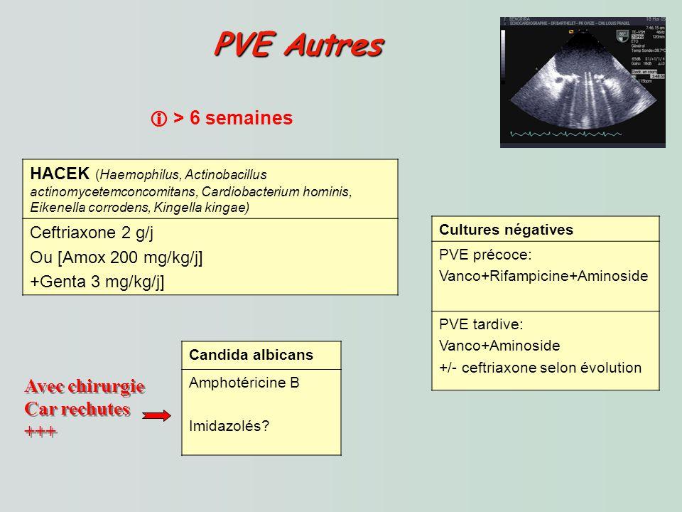 PVE Autres PVE Autres HACEK (Haemophilus, Actinobacillus actinomycetemconcomitans, Cardiobacterium hominis, Eikenella corrodens, Kingella kingae) Ceftriaxone 2 g/j Ou [Amox 200 mg/kg/j] +Genta 3 mg/kg/j] Cultures négatives PVE précoce: Vanco+Rifampicine+Aminoside PVE tardive: Vanco+Aminoside +/- ceftriaxone selon évolution Candida albicans Amphotéricine B Imidazolés.