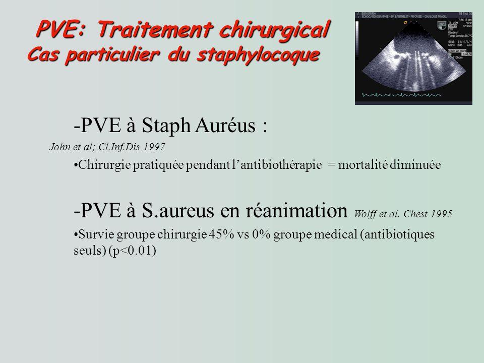 Cas particulier du staphylocoque -PVE à Staph Auréus : John et al; Cl.Inf.Dis 1997 Chirurgie pratiquée pendant lantibiothérapie = mortalité diminuée -PVE à S.aureus en réanimation Wolff et al.