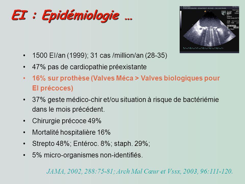 PVE : Antibiothérapie Probabiliste PVE : Antibiothérapie Probabiliste -Prendre en compte le staphylocoque méti-R surtout pour PVE précoces.