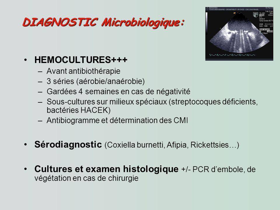 HEMOCULTURES+++ –Avant antibiothérapie –3 séries (aérobie/anaérobie) –Gardées 4 semaines en cas de négativité –Sous-cultures sur milieux spéciaux (streptocoques déficients, bactéries HACEK) –Antibiogramme et détermination des CMI Sérodiagnostic (Coxiella burnetti, Afipia, Rickettsies…) Cultures et examen histologique +/- PCR dembole, de végétation en cas de chirurgie DIAGNOSTIC Microbiologique: DIAGNOSTIC Microbiologique: