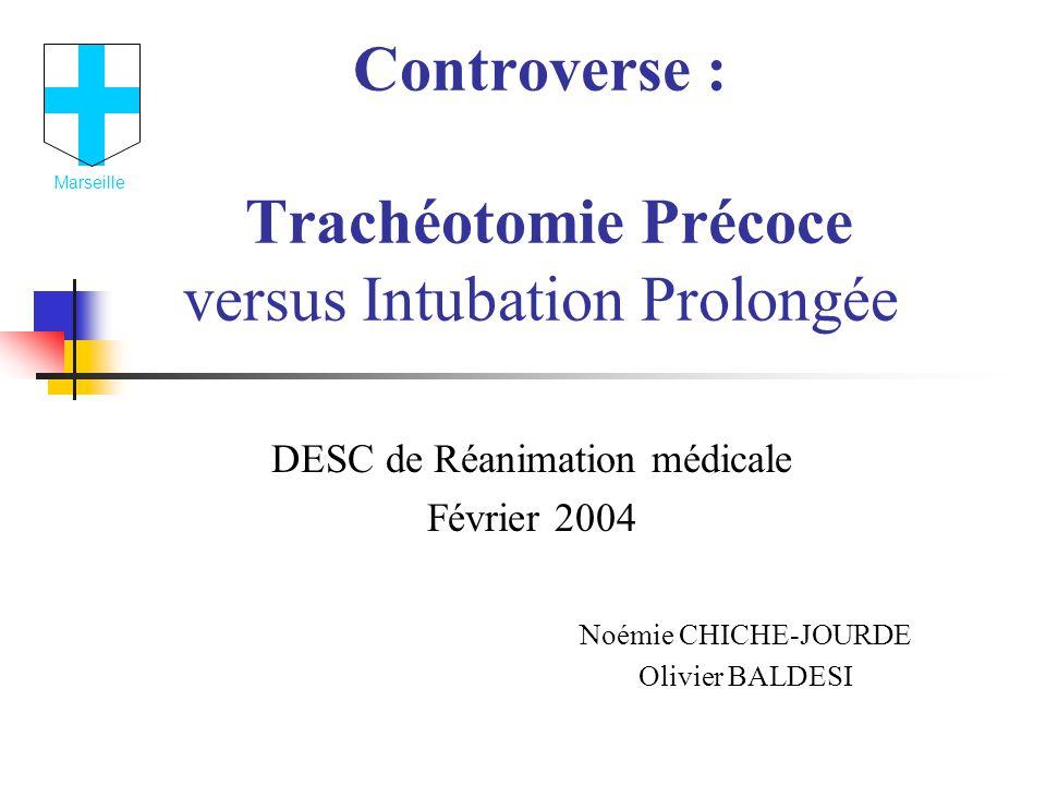 Controverse : Trachéotomie Précoce versus Intubation Prolongée DESC de Réanimation médicale Février 2004 Noémie CHICHE-JOURDE Olivier BALDESI Marseille