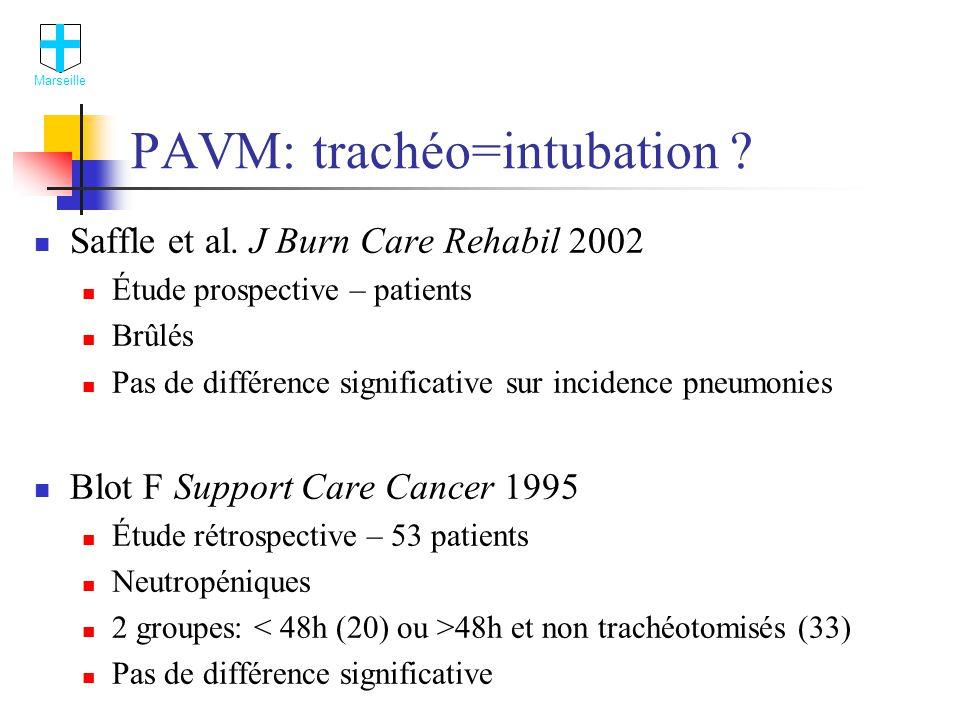 PAVM: trachéo=intubation .Saffle et al.