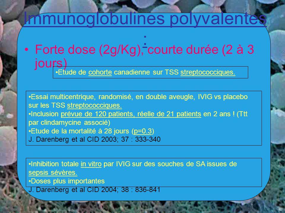 Immunoglobulines polyvalentes : Forte dose (2g/Kg), courte durée (2 à 3 jours) Etude de cohorte canadienne sur TSS streptococciques. Essai multicentri