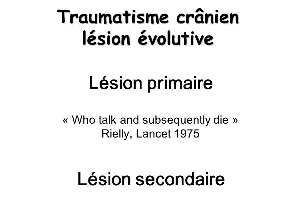 Lésions axonales diffuses Petites hyperdensités substance blanche De la jonction cortico-sous- corticale à la partie haute du mésencéphale Parfois constituent hématome profond Hémorragie ventriculaire possible