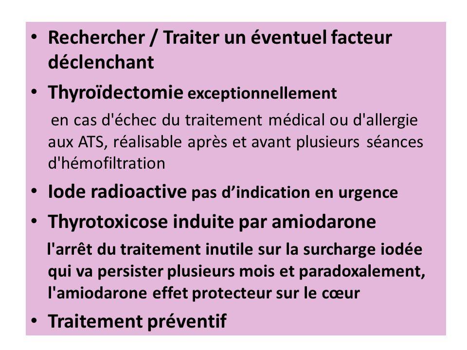 Rechercher / Traiter un éventuel facteur déclenchant Thyroïdectomie exceptionnellement en cas d'échec du traitement médical ou d'allergie aux ATS, réa