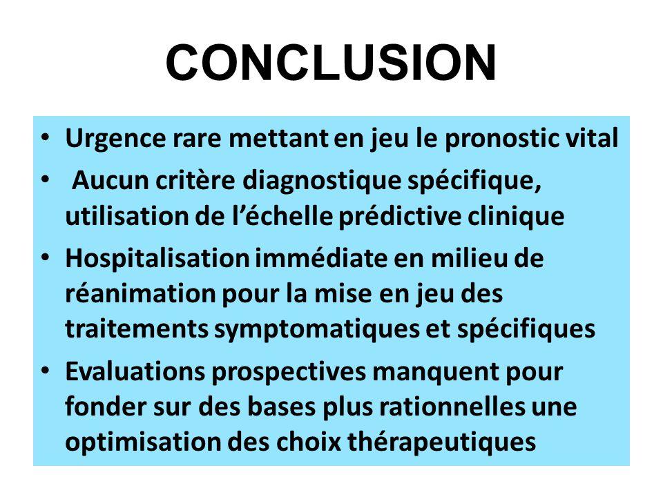 CONCLUSION Urgence rare mettant en jeu le pronostic vital Aucun critère diagnostique spécifique, utilisation de léchelle prédictive clinique Hospitali