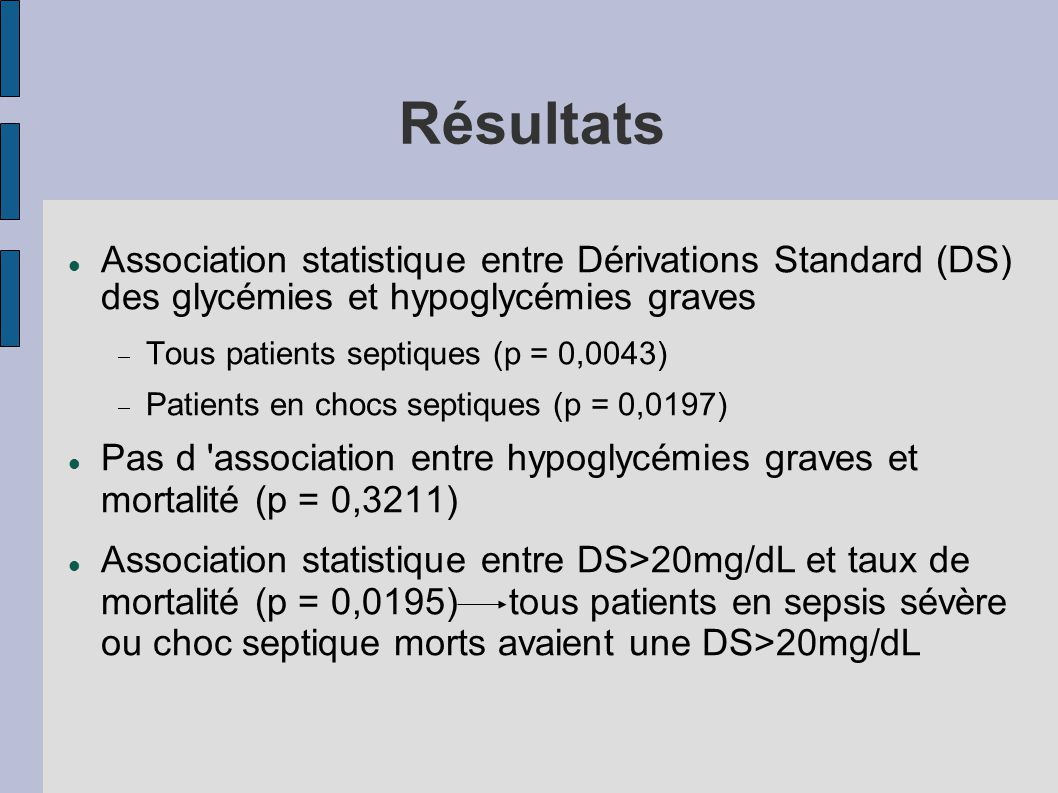 Résultats Association statistique entre Dérivations Standard (DS) des glycémies et hypoglycémies graves Tous patients septiques (p = 0,0043) Patients