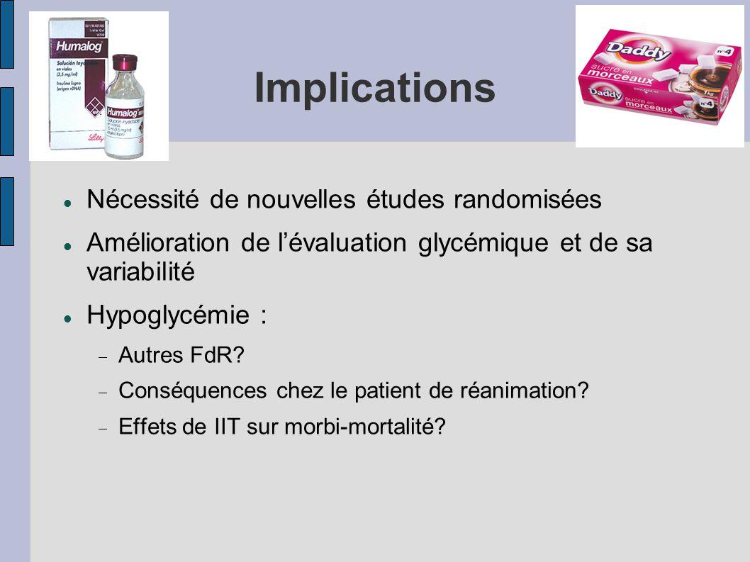 Implications Nécessité de nouvelles études randomisées Amélioration de lévaluation glycémique et de sa variabilité Hypoglycémie : Autres FdR? Conséque