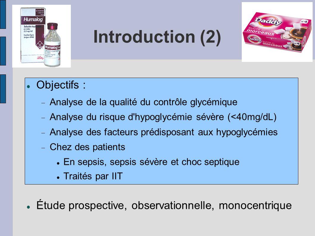 Introduction (2) Objectifs : Analyse de la qualité du contrôle glycémique Analyse du risque d'hypoglycémie sévère (<40mg/dL) Analyse des facteurs préd
