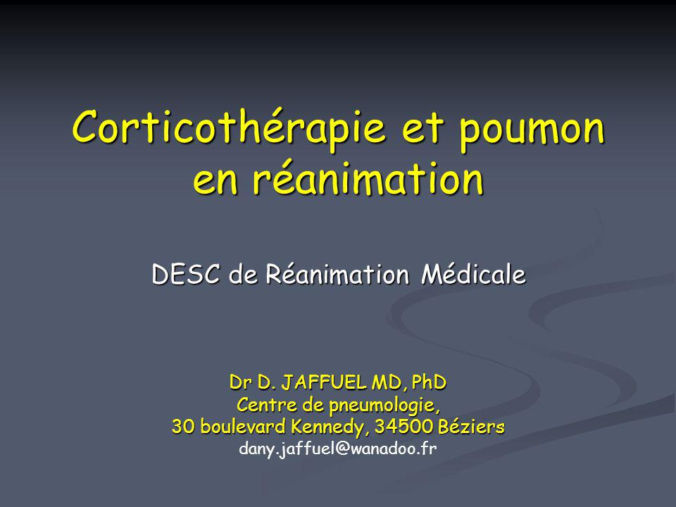Corticoïdes systémiques et exacerbation sévère de BPCO Recommandations pour la prise en charge de la BPCO, GOLD, NHLBI/WHO workshop report 2001 - Oral or intravenous glucocorticoids are recommended as an addition to bronchodilatator therapy in the hospital management of acute exacerbation of COPD (evidence A) -The exact dose that should be recommended is not known but high doses are associated with a significant risk of side effects.