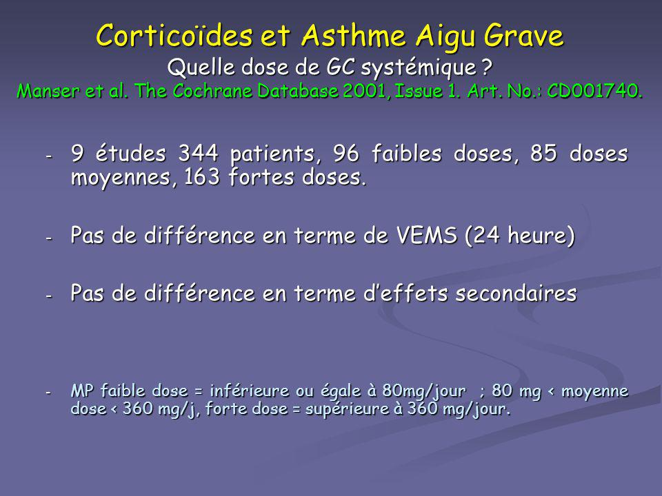 Corticoïdes et Asthme Aigu Grave Quelle dose de GC systémique ? Manser et al. The Cochrane Database 2001, Issue 1. Art. No.: CD001740. - 9 études 344