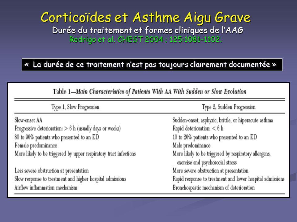 Corticoïdes et Asthme Aigu Grave Durée du traitement et formes cliniques de lAAG Rodrigo et al. CHEST 2004 ; 125:1081–1102. « La durée de ce traitemen