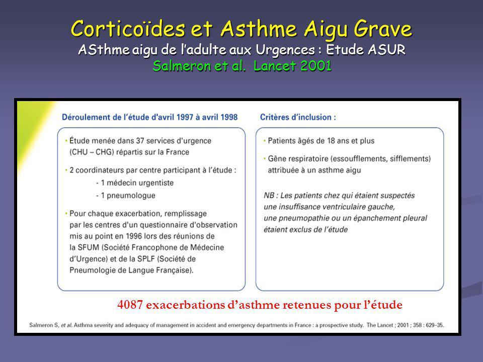 Corticoïdes et Asthme Aigu Grave ASthme aigu de ladulte aux Urgences : Etude ASUR Salmeron et al. Lancet 2001 4087 exacerbations dasthme retenues pour